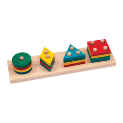 Guidecraft - Guidecraft One to Four Sorter - Guidecraft - Puzzles - G6704 - 12-large pieces to help build early counting and sorting skills. Matching shapes to the coordinating pegs reinforces early learning math and counting activities. Develops fine-motor skills and hand-eye coordination. Made from eco-friendly rubberwood and stained with low VOC aniline dyes. Activity booklet included. Ages 2+.