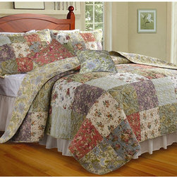 None - Blooming Prairie 3-piece Twin-size Cotton Quilt Set - This twin-size cotton quilt set is the perfect addition to your home decor. The oversize design makes this set fit well on deeper mattresses while the floral style and garden-colored patches add a natural and elegant tone to the room.