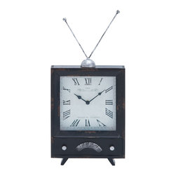 """Clock with Distressed Finish on The Clock Dial - Impart a touch of classic elegance to your mantle space with this stylish and elegantly designed Wood Clock 20""""H, 10""""W. Featuring a charming design with neat clean lines, this clock is perfect for lending a unique touch to your worktable, mantle area or can be used to decorate console tables. This elegant clock is styled like an antenna-TV set with a small square dial replacing the screen space. With its innovative design and metal finished TV antennas, this clock can be incorporated in modern and traditional decor styles. Distressed finish on the clock dial perfectly matches the bold Roman numeral and classic style, slender clock arms. Carefully crafted from high grade materials, this clock is sure to add elegance to wherever you place it.. It comes with following dimensions"""