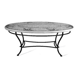 """Frontgate - Prague Oval Outdoor Coffee Table - Black, 42"""" x 24"""" Oval, Patio Furniture - Mosaic tabletops feature up to 3,500 tiles of opaque stained glass, marble and travertine organic and geometric tiles that are individually cut and placed by hand. Tops are cast into a proprietary stone blend allowing for striking beauty that years of exposure to the elements will not fade. Mosaic designs are simple to maintain by using a natural look penetrating sealer once or twice a year. Polyester powdercoat is electrostatically applied to aluminum chairs and table bases and then baked on for an impeccable, weather-resistant finish. Aluminum Seating is paired with element enduring Sunbrella cushions offered in a variety of coordinating colors (cushions sold separately). Our expressive and masterful Prague Mosaic Tabletops from KNF-Neille Olson Mosaics boast iridescent waves of color, deep sophisticated hues, fresh designs and durability measured in decades. These qualities separate Neille Olson's celebrated mosaic tabletops from the ordinary--giving each outdoor furniture piece its own unique character.. . . . . Note: Due to the custom-made nature of these tabletops, orders cannot be changed or cancelled more than 48 hours after being placed."""
