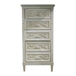 British Traditions - 5 Drawer Tall Lingerie Chest w Highly Carved French Moldings (French Grey) - Finish: French Grey. Each finish is hand painted and actual finish color may differ from those show for this product. Tall 5-drawer chest. Highly carved French moldings. Can only take knobs, no pulls. Maple wood construction with pressed board back. Drawer size: 21 in. W x 15 in. D x 8 in. H. 28 in. W x 17.5 in. D x 56 in. H (113 lbs.)Highly carved with French moldings, the Belle Fleur Lingerie chest will fit in any narrow space.