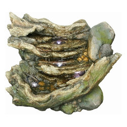 Yosemite Home Decor - Yosemite Home Decor Rock Cascade Polyresin Indoor / Outdoor Fountain X-91090WC - The water has worn away at the rock, creating a one-of-a-kind look that only nature could inspire with this Yosemite Home Decor indoor/outdoor fountain. This polyresin fountain, Rock Cascade, also features natural-inspired colors and finishes, as well as LED lighting, for a visually appealing effect.