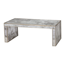 Worlds Away - Worlds Away - Mirrored Coffee Table - Parsons-Coffee Table, Silver - The Worlds Away Parsons coffee table presents bold and glamorous modernity to living rooms. Shimmering gold leaf trim accents this rectangular, antique mirror furnishing for an elegant touch.