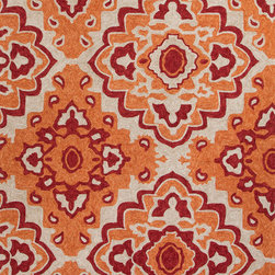Jaipur Rugs - Moroccan Pattern Polyester Orange/Red Indoor-Outdoor Area Rug ( 2x3 ) - These Catalina rugs will add a pop to any outdoor space with its rich inspiration from Moroccan trellis and tile patterns.