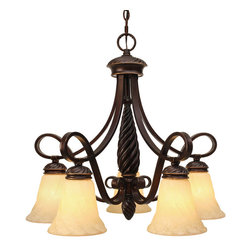 Golden Lighting - Torbellino 5 Light Nook Chandelier - Highlight your dining area or nook. This chocolate rich bronze chandelier, accented with cupola shaped glass shades, creates fluid curves above. European old-world elegance seamlessly mixes with a gracious modern style, creating an overhead lighting extravaganza.