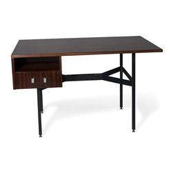Mid-Century French Acajou Desk - Black iron and acajou desk, with single drawer and open compartment, the acajou surface resting on four iron legs joined by center stretcher. By Gerard Guermonprez, French circa 1960.