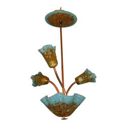"""Primo Glass - Blown Glass Chandelier - Copper - Art Glass Chandelier - Lighting - Please note that this sale is for a one of a kind custom """" to be built """" chandelier that will have slight differences from the chandelier shown in the listing photos. We handcrafted this chandelier using a natural copper twisted frame, with crushed amber & turquoise blown glass shades that were made in our glass studio here in the USA. This stunning chandelier is sure to brighten any space. The lighting source consists of a standard medium base ( 100 watt max ) light socket in the center of each shade. Chandelier will be shipped with 60 watt dimmable LED light bulbs that will last for 20,000 hours or longer, and also includes a custom made matching glass ceiling medallion. All electrical components are UL listed. Primo Glass chandeliers are high quality collectible works of functional art, signed by the artists, and come with a certificate of authenticity."""