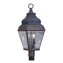 Livex Lighting - Livex Lighting 2592-07 Outdoor Post Head - Glass Type/Shade Type: Clear Beveled Glass