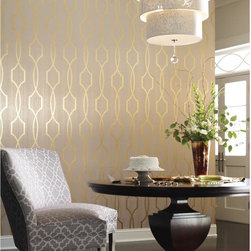 Palladian Wallpaper - Modern Luxe - This wallcovering is inspired by architecture and conceived in a brilliant metallic format. The matte field is strung with vertical stria and large geometric designs are created with half inch ribbons of shiny mylar. Six striking color pairs include shining silver with deep aquamarine or bright gold with softest grey, marvelous with the companion paper Palladian Stria.