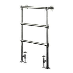 "Hudson Reed - Countess Traditional Heated Towel Warmer Rail & Valves 37"" x 26"" - Chrome Finish - Frame manufactured from quality brass tubing for a true period look. Ideal for use in the bathroom kitchen cloakrooms etc. Supplied with valves as standard."