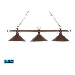 Elk Lighting - Landmark Lighting Designer Classics 182-AC-M2-LED 3-Light Billiard/Island in Ant - 182-AC-M2-LED 3-Light Billiard/Island in Antique Copper w/ Hand Hammered Iron Shades - LED - 800 Lumens belongs to Designer Classics/Billiard/Island Collection by Landmark Lighting The Designer Classics Collection Runs The Gamut From Spirited, Fun-Loving Billiard Lights Inspired By The Game Itself..... To An Array Of Stunning, Rich Designs That Make An Eye Catching Statement For Any Gameroom, Bar Or Kitchen Island. Use In Any Setting Where Optimal Illumination Is Desired. - LED, 800 Lumens (2400 Lumens Total) With Full Scale Dimming Range, 60 Watt (180 Watt Total)Equivalent , 120V Replaceable LED Bulb Included Billiard/Island (1)
