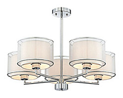Post Modern 5 Gauze and Fabric Shades Chandelier -