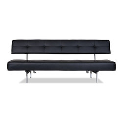STUDIO COPENHAGEN - Bosco Black Futon - Less is more with the Bosco Sofa Bed, simple in design giving it an elegant minimalist look. The Bosco sleeper sofa's back folds down in line with the seat creating a comfortable place to sleep.