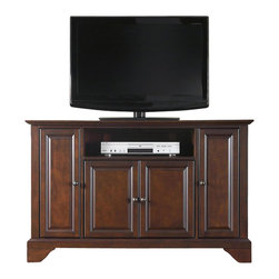"Crosley Furniture - Crosley Furniture LaFayette 48"" TV Stand in Vintage Mahogany Finish - Crosley Furniture - TV Stands - KF10002BMA - Constructed of solid hardwood and wood veneers this cabinet is designed for longevity. The rich hand rubbed multi-step Vintage mahogany finish is perfect for blending with the family of furniture that is already part of your home. Antique brass finish hardware adds a touch of style to this already beautiful cabinet. There is plenty of storage space and wire management behind the beautiful raised panel doors to hide electronic components gaming consoles DVDs and other items that you would prefer to be out of sight. The 47 3/4"" width means that this cabinet is perfect for most 50"" TV's. Style function and quality make this cabinet a wise choice for your home furnishings needs and is sure to be a part of your home for years to come."