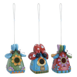 Benzara - Fiber Glass Bug Birdhouse Set of 3 - Give a vivacious touch to outdoor settings with this adorable and intricately detailed Fiber Glass Bug Birdhouse 3 Assorted 5 in. W, 18. This birdhouse is available in a set of three assorted colors that are perfect for lending a dash of vibrancy to your home decor. This polystone birdhouse is light in weight and perfectly retains the colors even after prolonged use. This birdhouse is an innovative twist to the traditional birdhouse design and is detailed with ladybirds, butterfly and bug motifs in lively colors for added visual appeal. With a sturdy construction, his birdhouse is also resistant to weather induced damage and is thus ideal for use in gardens, backyard or patio. Durably crafted from polystone, this birdhouse seamlessly combines durability with lasting performance..