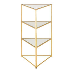 Kathy Kuo Home - Classic Hollywood Regency Gold Leaf Glass Corner Table - Gold is always a great investment, especially when it is a modern gold leaf corner table .  Whether your tastes are Mid Century or Hollywood Regency or even art deco, any modernist with a dedication to elegance will easily find a corner in their home for this beauty.