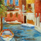 """""""Venetian Canal"""" (Original) By Chris Brandley - One Of The Quaint Canals Between The Ancient Buildings In Venice, Italy."""