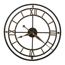 Howard Miller - Howard Miller York Station Quartz Wall Clock - Howard Miller - Wall Clocks - 625299 - This contemporary wall clock is unique with its frame incorporating the dial itself and has an antique style appeal for home or office. Distinguished by its wrought-iron construction, antique gold finishing and intermittent Roman numerals dial, the York Station has a simple yet strong look. Diamond accents and classic hour / minute hands pair with the reliability of battery-operated quartz movement to complete the look and appeal of the York Station Quartz Wall Clock.
