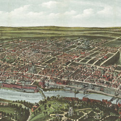 "Philadelphia Panoramic - 1907 Wall Map Mural - Peel & Stick, 84"" X 42"", 1 Panel - A colorful birds-eye view of the Philadelphia neighborhoods of Manayunk, Wissahickon, and Roxborough  as they were in 1907. The map was drafted by Thaddeus Mortimer Fowler from a  viewpoint of the West Laurel Hill Cemetery. Illustrated on the map are streets,  buildings, bridges, and railways as well as the Schuylkill River."