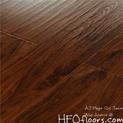 "AJ Mega Clic Junior - Wild Acacia hand scraped, embossed laminate 8.3 mm x 5.5"" wide boards, available at HFOfloors.com, usually in stock DIY."