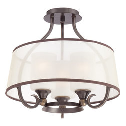 Quoizel - Quoizel QZ-PLR1716PN - A suave design, Palmer is chic and sophisticated.  The etched glass is enveloped by the organza shades which are finished in brown trim.  The versatile Palladian Bronze finish coordinates well with many home decors.