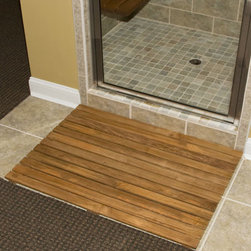"""36"""" x 24"""" Teak Shower Mat - Place this Teak Rectangular Shower Mat in front of or inside your shower for safety and style. It is slightly textured to help prevent slipping, but smooth and safe enough to use with bare feet."""
