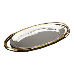 "L'Objet - L'Objet Evoca Small Oval Platter, 24kt Gold Bamboo Trim 13"" Wide - A mesmerizing combination of hand-crafted metals, the Evoca collection melds organic elements into a dazzling contemporary ensemble. Every piece in the collection is created from a hand shaped brass base, which is then nickel-plated and polished to a shimmering finish. The unique bamboo accents are hand gilded with 24kt gold and soldered to the body with sterling silver, utilizing the same technique and standards found in the creation of fine jewelry. 24k Gold Plated Accents 18/10 Stainless Steel surface never needs polishing Choose from 13"", 10"" and 6"" heights. Perfect for serving dips & sauces Luxuriously Gift Boxed, Includes a Suede Dust Bag. Please Hand WashL'Objet is best known for using ancient design techniques to create timeless, yet decidedly modern serveware, dishes, home decor and gifts."