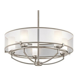 Kichler - Saldana Chandelier by Kichler - The Kichler Saldana Chandelier brings a cool, sleek and airy element into modern spaces. Around five cylindrical Etched Opal glass shades, a ring of White Transparent organza adds another gauzy layer to the light they diffuse. The outer shade's Grey trim complements the Classic Pewter finish on the steel frame. Since 1938, Cleveland-based Kichler Lighting has created exceptional lighting in a variety of styles, finishes, colors and designs. With a diverse collection of indoor and outdoor lighting in classic and contemporary styles, Kichler Lighting always focuses on making home lighting that is both beautiful and functional.