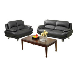 "AC Pacific - 2 pc Alice modern style black bonded leather upholstered sofa and love seat set - 2 pc Alice modern style black leather match upholstered sofa and love seat set with chrome legs. This set includes the sofa and love seat with modern styling and chrome legs. sofa measures 80"" x 39"" x 35"" H. love seat measures 61"" x 39"" x 35"" H. Optional single chair also available separately at additional cost. Some assembly required."
