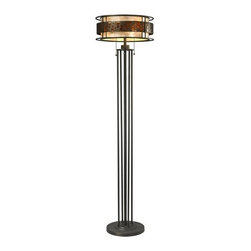 Z-Lite - Z-Lite Z16-50FL Milan 3 Light Floor Lamp - The Oak Park family finished in Java Bronze offers clean lines with simple, geometric forms to show true craftsmans styling. This 3 Light Floor Lamp is finished in Java bronze paired with White and Amber Mica.Features: