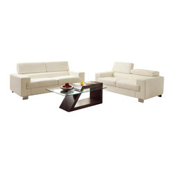 Homelegance - Homelegance Vernon 6-Piece Living Room Set in White Leather - With defined angles that exemplify contemporary design, the Vernon collection will blend effortlessly into your modern home. Metal legs support the bonded leather seating group while also enhancing the look of the collection. The headrests atop each piece add function to this already unique group. The collection is offered in black or white bonded leather.