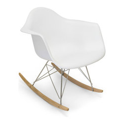 Inmod - Molded Plastic Rocker, White - Part of the Inmod Signature Collection