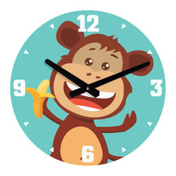 Nursery Code - WALL CLOCK - Monkey and Banana - Monkey and banana Wall Clock for Nursery Room Decor