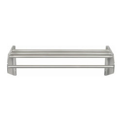 Ex-Cell - Aluminum Wall Mounted Coat & Hat Rack (60 in.) - Choose Size: 60 in.. Satin finish, all aluminum construction is durable, light weight and corrosion resistant. Top shelf allows for air flow to help prevent the formation of mites or molds frequently found in enclosed areas. Extend 15 in. from the wall and the steel brackets are 11.75 in. tall at their highest point against the wall. Uniquely designed brackets taper as they extend forward with smooth, round edges. Create additional storage by adding a Coat Hook Strip along the back of units - model numbers ending in AC. Perfect for: foodservice, hospitality, long-term healthcare facilities, MRO & much more. 60 in. and 72 in. Comes with a center bracket for additional support. 70% Recycled steel used in manufacture and 100% post-consumer recyclable. Made in USA. Minimal assembly required. 36 in. L x 15 in. W x 11.75 in. H. 48 in. L x 15 in. W x 11.75 in. H. 60 in. L x 15 in. W x 11.75 in. H. 72 in. L x 15 in. W x 11.75 in. HProfessional strength coat and hat racks are wall mounted to save floor space and attractive enough to be used outside the closet walls.