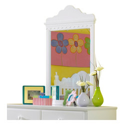 Hillsdale Furniture - Hillsdale Lauren Youth Mirror - The whimsical yet traditional styling of the Lauren post bedroom group makes it a delightfully timeless addition to any young girl's room. The white finish coordinates with any decor you might choose and the scalloped design carries through each-piece. The drawers have French dovetail drawer fronts, English dovetail drawer backs and wood on wood drawer glides.