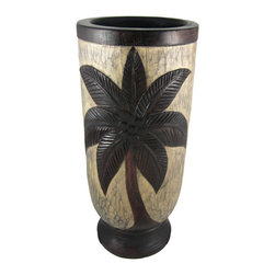 Zeckos - Hand Carved Palm Tree Motif Wooden Umbrella Stand - This beautiful palm tree motif umbrella stand is made from hollowed out Albessia wood by Indonesian artisans. Measuring 18 inches tall, 8 inches in diameter. The stand features relief carvings of coconut palm trees, hand stained to accentuate the beauty and detail. It looks great in foyers, hallways and living rooms.