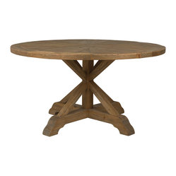 "Four Hands - Opio Round Dining Table 59"" - Inspired by early American life, this table has a rugged charm that's just right for your home. It's hand-crafted from pine reclaimed from old buildings and then bleached, sanded and finished to put the wood's raw beauty in focus."