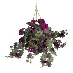 Morning Glory Hanging Basket Silk Plant - Despite their name, these beautiful flowers will remain in bloom throughout the day. Crisp funnel-shaped petals surrounded by a colorful hue of pointy leaves create the perfect contrast for this morning glory silk hanging basket. Whether displayed outdoors on your front porch or in an indoor patio setting, this authentic styled arrangement is sure to please. Enjoy the beauty of natural looking flowers without the hassle of watering, wilting petals, or pesky insects. An attractive wicker basket adds a nice finishing touch. Height= 24 in x Width= 32 in x Depth= 32 in