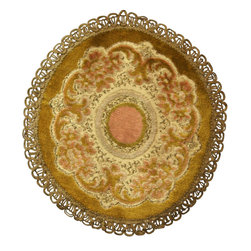 EuroLux Home - Small Round Consigned Vintage French Doily Gold, Pink & Green Brocade - Product Details