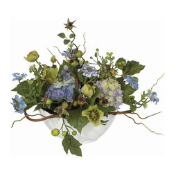 Nearly Natural - Hydrangea Centerpiece - A literal cornucopia of nature's beauty, this Hydrangea arrangement is sure to please every eye that gazes upon it. Sporting far too many details and colors to describe, this amazing mixture of flowers, blooms, buds, berries, leaves, and stems is encased in a white ceramic bowl, making it the perfect centerpiece for any occasion.