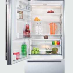 BI-30U Over-and-Under Refrigerator/Freezer - I have this built-in Sub-Zero refrigerator. The inside is beautiful and operates very quietly. The freezer bottom has two drawers inside and enough space to hold a large frozen pizza (my son's favorite). It makes great ice, too.
