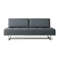 Gus Modern - Gus Modern | James Lounge Sofa - The James Lounge Sofa is both a unique and versatile sofa. With removable back cushions, the James Lounge Sofa instantly  transforms into a single bed for overnight guests that fits standard twin sheet sets. Constructed of FSC certified wood and a  stainless steel base, the James Lounge Sofa is a modern version of a convertible sofa lounge. Plastic bumpers on all four  corners  prevent floor damage from occurring and add to the stability of the James Lounge Sofa. The tight seat features blind tufting  and  the angled loose back cushions attach to the sofa with Velcro for quick, easy removal. The James Lounge Sofa is available in a variety of different colored upholsteries. All fabric is CA 117 certified and double rub  tested.