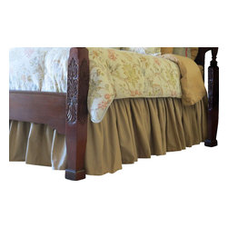 Allyson Brooke, Inc. - EasyOn™ Gathered Dust Ruffle, Queen, Latte (Tan), 18 Inch Drop Length - Queen size EasyOn™ Gathered Dust Ruffle in Latte (Tan) with a 18 inch drop length.  Installs easily without removing your mattress.  And once in place, it stays put!  No more re-arranging your dust ruffle after a sheet change!   Everything you need to install, including detailed instructions are included, and we professionally package these to minimize wrinkling!  Made in the USA.