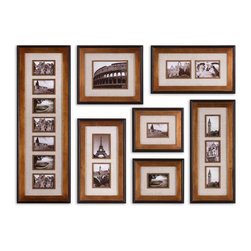 Uttermost - Uttermost Newark Hanging Photo Collage, Set of 7 14459 - This Collection Of Frames Features A Heavily Antiqued Gold Finish With A Matte Black Outer Edge. Ivory Linen Mats Surround Photos. May Be Hung Horizontal Or Vertical. Holds Photo Sizes: 12-4x6, 1-8x10, 4-5x7 Frame Sizes: 15x44, 17x19, 13x29, 2-14x24 & 2-13x15