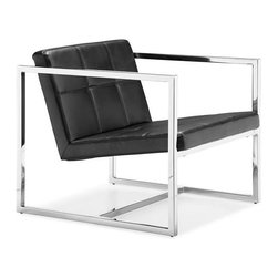Angles Chair in Black - Like a chiseled clotheshorse walking down a Milan runway on fashion week, this chair celebrates angles in all its glory. The perfectly angled leatherette tufted seat and back contrast the stark materials of the square chrome steel tube frame.