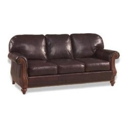 EuroLux Home - New Wood Top Grain Leather Sofa Scroll - Product Details