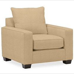 """PB Comfort Square Upholstered Armchair, Knife-Edge, Down-Blend Cushions, Washed - Built by our own master upholsterers in the heart of North Carolina, our PB Comfort Square Upholstered Armchair is designed for unparalleled comfort with extra-deep seats and three layers of padding. 37.5"""" w x 40"""" d x 37"""" h {{link path='pages/popups/PB-FG-Comfort-Square-Arm-4.html' class='popup' width='720' height='800'}}View the dimension diagram for more information{{/link}}. {{link path='pages/popups/PB-FG-Comfort-Square-Arm-6.html' class='popup' width='720' height='800'}}The fit & measuring guide should be read prior to placing your order{{/link}}. Choose polyester wrapped cushions for a tailored and neat look, or down-blend for a casual and relaxed look. Choice of knife-edged or box-style back cushions. Proudly made in America, {{link path='/stylehouse/videos/videos/pbq_v36_rel.html?cm_sp=Video_PIP-_-PBQUALITY-_-SUTTER_STREET' class='popup' width='950' height='300'}}view video{{/link}}. For shipping and return information, click on the shipping tab. When making your selection, see the Quick Ship and Special Order fabrics below. {{link path='pages/popups/PB-FG-Comfort-Square-Arm-7.html' class='popup' width='720' height='800'}} Additional fabrics not shown below can be seen here{{/link}}. Please call 1.888.779.5176 to place your order for these additional fabrics."""