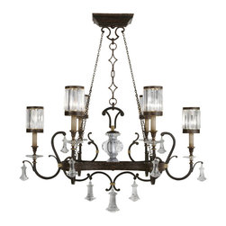 Fine Art Lamps - Eaton Place Chandelier, 583840ST - Add some old-world elegance to your home with this fine chandelier. Its rustic iron finish and shape recall grand European country estates, while the six faceted crystal shades and other crystal touches add sparkle and polish. You are to the manor born, after all.