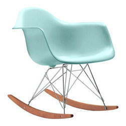 Eames Molded Plastic Rocker, Aqua.Sky - This soft sky-blue version of the Molded Plastic Rocker by Charles and Ray Eames is a fresh take on a timeless classic. It would be great for a modern nursery.
