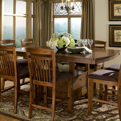 Homelegance - Homelegance Marcel Butterfly Leaf Counter Height Table w/ Storage Base [Set of 2 - A classic addition to your casual dining room  your family and friends will enjoy the times they spend sitting around the Marcel Collection. Seating 8 comfortably  the storage base counter height with butterfly leaf table is flanked by slat-back chairs featuring a warm brown fabric seat. Each piece of the collection is finished in a warm oak tone. The coordinating server features wine rack  drawer and door storage.